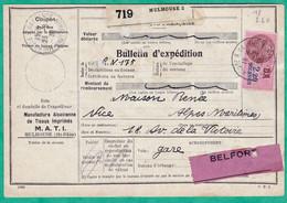 COLIS POSTAUX ALSACE LORRAINE - BULLETIN D'EXPEDITION DU 23 AOUT 1939 - 2 SCANS - Covers & Documents