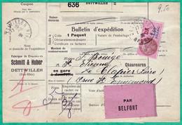 COLIS POSTAUX ALSACE LORRAINE - BULLETIN D'EXPEDITION DU 1 AOUT 1939 - 2 SCANS - Storia Postale