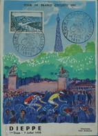 76- Tour De France Cycliste 1955 Sur CP Officielle étape Le Havre - Dieppe - Bolli Commemorativi