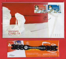 INDONESIA STAMP 2021, TIME TO VACCINATE. FDC VAKSINASI, 26.02.2021, CONNECTOR MASKERS - Indonesia