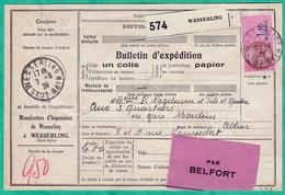 COLIS POSTAUX ALSACE LORRAINE - BULLETIN D'EXPEDITION DU 7 AOUT 1939 - 2 SCANS - Covers & Documents