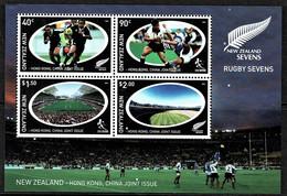 New Zealand 2004 Rugby Sevens Hong Kong, China Joint Issue Minisheet MNH - - Ongebruikt