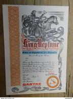 Ticket De Passage De L'equateur Avec La Cie QANTAS - KING NEPTUNE ............. PHI-Class74 - Otros