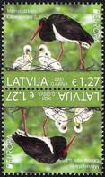 Latvia Lettland Lettonie 2021 (05-2) Europe - Endangered Animals - Black Stork (tete-beche Pair) - Lettland