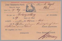 GERMANY - Wurttemberg - 1885 ADVERTISING Back On 5pf Postal Card - Ulmer Reisstaerke-Fabrik - Illustrated! - Wurttemberg