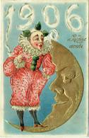 Carte Gaufrée. Illustrateur. Cirque. Clown Fumant La Pipe Et  Lune. Bonne Année 1906. - Neujahr