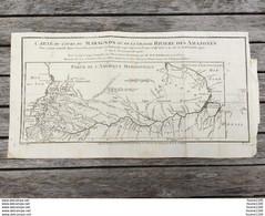 Gravure Plan Carte Du Cours Du Maragnon Ou De La Grande Rivière Des Amazones ( Quito Guiane Grenade ) Année 1743 1744 - Documents Historiques