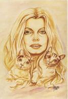 Illusttrateur Mederic Brigitte Bardot Et Ses 2 Chats RV Tirage 500ex - Actors