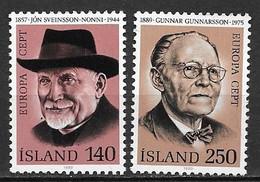 Islande 1980 N° 505/506 Neuf Europa Personnages Célèbres - 1980