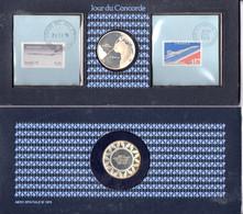 21-1-1976; Jour Du Concorde, 1er Vol Paris-Rio De Janeiro; Souvenir Avec Medaille En Argent - Luchtvaart