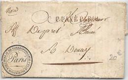 LETTRE DE PARIS AVEC CACHET DU BUREAU DES CORRESPONDANCES RUE MONTMARTRE  COVER FRANCE - 1801-1848: Voorlopers XIX