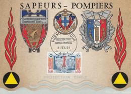 CARTE MAXIMUM 1964 SAPEURS-POMPIERS - 1960-69
