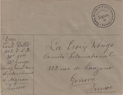 """SUISSE : GUERRE . """" CAMP D'INTERNEMENT MILITAIRE DE SIGNAU """" . 1914/18 . - Briefe U. Dokumente"""