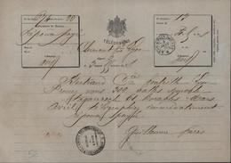 Télégramme Armes Impériales CAD Ondulé Télégramme Lyon Croix Rousse 3 1 1868 Cachet Administration Lignes Télégraphiques - Telegraph And Telephone