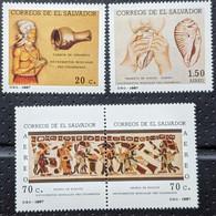 El Salvador, 1987, MI 1683-1686, Pre-Columbian Musical Instruments, 1 + Strip Of 2, MNH - Musica