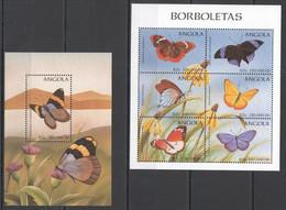 VV862 ANGOLA FLORA & FAUNA FLOWERS BUTTERFLIES 1BL+1KB MNH - Butterflies