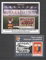 WW092 1993 GRENADA SPORT ITALIAN FOOTBALL UEFA FC GENOA 100TH ANNIVERSARY !!! 2BL MNH - Beroemde Teams