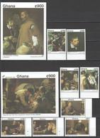 WW567 IMPERF,PERF GHANA ART VELAZQUEZ 1992 #1684-91 MICHEL 30 EURO 2BL+1SET MNH - Other