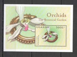 WW895 UGANDA FLORA NATURE FLOWERS ORCHIDS THE BOTANICAL GARDEN BL MNH - Orchids