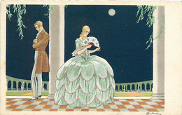 Signature Illisible   , Style Art Nouveau , Femme Robe A Crinoline , * 322 00 - Other Illustrators