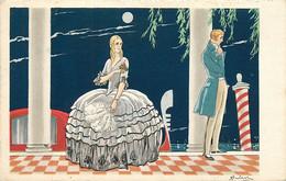 Signature Illisible   , Style Art Nouveau , Femme Robe A Crinoline , * 322 01 - Other Illustrators