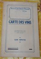 MONS 1930 - CARTE DES VINS De La MAISON F. DE GROOT - TALLON à MONS Pour HOTEL DE FRANCE à LA PANNE En 1930 - Reclame
