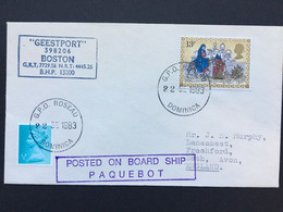 GB 1983 Cover - Geestport Paquebot Cachets - Freighter With G.P.O. Roseau Dominica Postmarks Sent To England - Briefe U. Dokumente