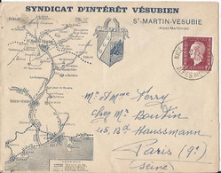 Enveloppe Publicitaire - Saint Martin De Vésubie - Syndicat Vésubien - N° 699 YT Seul Sur Lettre Grosse Cote - Altri
