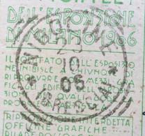 NIGOLINE *(BRESCIA)* 23/10/06 Annullo T.r. Su CARTOLINA UFFICIALE ESPOSIZIONE DI MILANO 1906 :MONTANDON &C. PONTECHIASSO - Tentoonstellingen