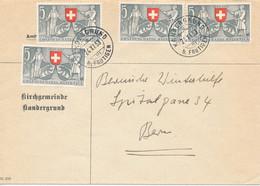 SCHWEIZ / SUISSE - KANDERGRUND B. Frutigen  , 1953  ,  Bern 600 Jahre Im Bund  ,  Michel 580 4er-Block - Cartas