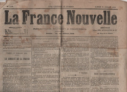 LA FRANCE NOUVELLE 31 07 1875 - LIBERTE DE LA PRESSE - LOI LIBERTE ENSEIGNEMENT SUPERIEUR - ESPAGNE - LOCOMOTIVE TRAMWAY - 1850 - 1899