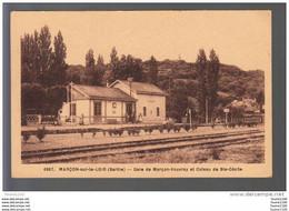 Carte De Marçon Sur Le Loir  La Gare  ( Sans Train ) ( Recto Verso ) - Andere Gemeenten