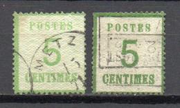 - ALSACE-LORRAINE N° 4 + 4a Oblitérés - 5 C. Vert-jaune + Vert-foncé - Cote 45,00 € - - Alsace-Lorraine