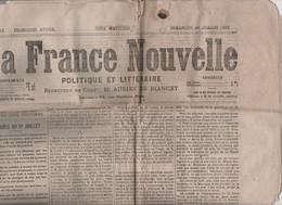 LA FRANCE NOUVELLE 20 07 1873 - ASSEMBLEE NATIONALE - BELFORT - ALGERIE - LOURDES - CARLISTES ESPAGNE - SHAH DE PERSE - - 1850 - 1899