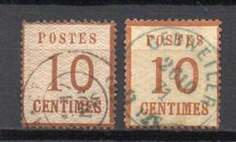 - ALSACE-LORRAINE N° 5 + 5a Oblitérés - 10 C. Bistre-brun + Bistre-orange - Cote 20,00 € - - Alsace-Lorraine