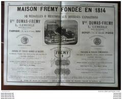 PUB Usine TOILE EMERI Frémy Dumas Lemerle Fabrique à Ivry Passementerie Or Stopin Pâtes Alimentaires Boudier Marge - 1800 – 1899