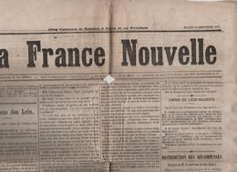 LA FRANCE NOUVELLE 22 10 1878 - MAC MAHON - MARSEILLE - FIEVRE JAUNE ETATS UNIS - AEROSTATION - RIOM - - 1850 - 1899