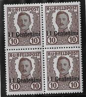 Autriche-Hongrie Occupation En Italie YT N° 31 En Bloc De Quatre Neufs ** MNH. TB. A Saisir! - Unused Stamps