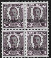 Autriche-Hongrie Occupation En Italie YT N° 39 En Bloc De Quatre Neufs ** MNH. TB. A Saisir! - Unused Stamps