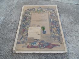 Diplome + Medaille Gros Module Commemorative De La Guerre De 1870 Garde Nationale Mobile De La Creuse - Voor 1871