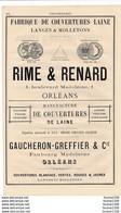 PUB 1881 Manufacture De Couvertures Pépin Veillard Perrin à ORLEANS Au Dos Rime Renard / Gaucheron Greffier - 1800 – 1899