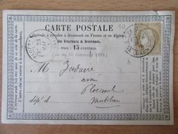 France - Timbre Cérès 15c Sur Précurseur Vers Ploërmel - Oblitéré CàD Paris Luxembourg 1874 - 1849-1876: Période Classique