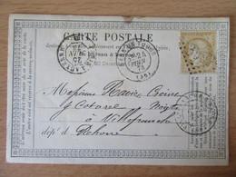 France - Timbre Cérès 15c Sur Précurseur Vers Villefranche - Oblitéré GC 3997 Tours + Ambulant Auxerre Paris 1873 - 1849-1876: Klassik