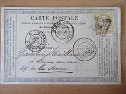 France - Timbre Cérès 15c Sur Précurseur Vers Cayeux Sur Mer - Oblitéré GC 2659 Nîmes + Ambulant Marseille Paris 1873 - 1849-1876: Klassik