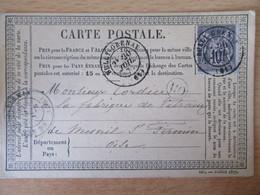 France - Timbre Sage 15c Sur Précurseur Vers Le Mesnil St Firmin - Oblitéré CàD Bully Grenay + Cachet OR 1876 - 1877-1920: Periodo Semi Moderno