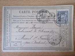 France - Timbre Sage 15c Sur Précurseur Vers Le Mesnil St Firmin - Oblitéré CàD Bethune + Boîte Rurale - 1878 - 1877-1920: Semi-Moderne