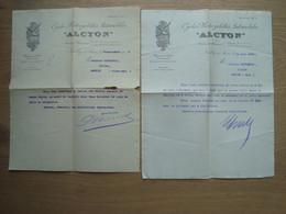 LOT DE 2 FACTURES LETTRES ALCYON CYCLES MOTOCYCLETTES AUTOMOBILES 1909 - Auto's