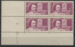 "N° 463 COTE 63 € Coin Daté Du 30/4/40. ""Balzac"" Neuf ** (MNH). - 1940-1949"
