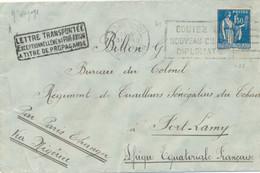 1934 PAIX 288 1f50 LETTRE AVION FORT LAMY AEF TCHAG + GRIFFE TRANSPORTÉE EXCEPTION. A TITRE PROPAGANDE Via NIGERIA - Air Post