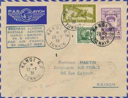 PREMIER VOL HANOI SAIGON 30/7/38 AIR FRANCE LETTRE HANOI TONKIN INDOCHINE MULLER 132 - FFC LIAISON POSTALE - Poste Aérienne